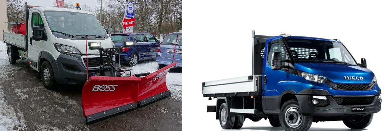 Peugeot Boxer und Iveco Daily als Winterdienstfahrzeug