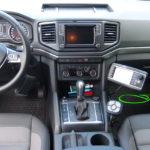 VW Amarok Innenraum mit THE BOSS Tastenfeld und HILLTIP Aufbaustreuer Bedienpult